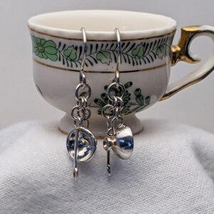 silver teacup ear rings