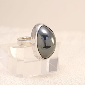 Hematite and sterling silver ring