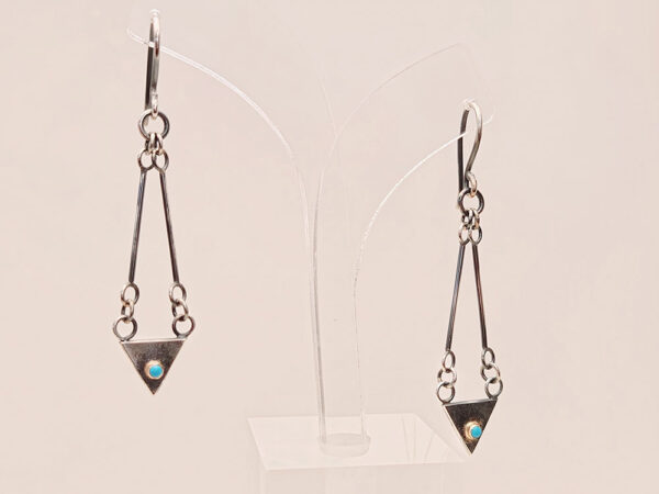 sterling silver earrings turquoise cabochon.